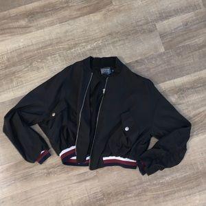 Black windbreaker bomber jacket